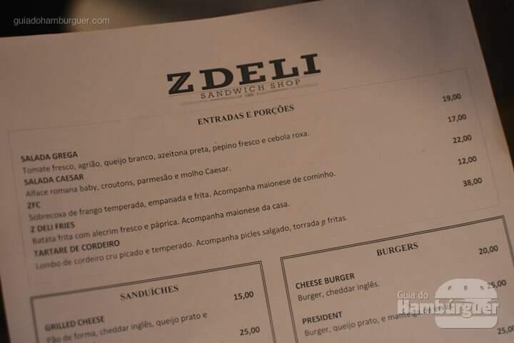 Cardápio de entradas e porções  - Z Deli Sandwich Shop