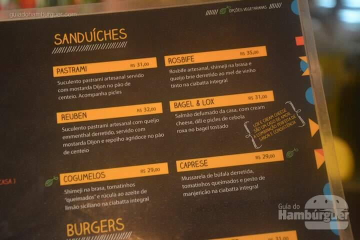 Cardápio de sanduíches - Lox Deli