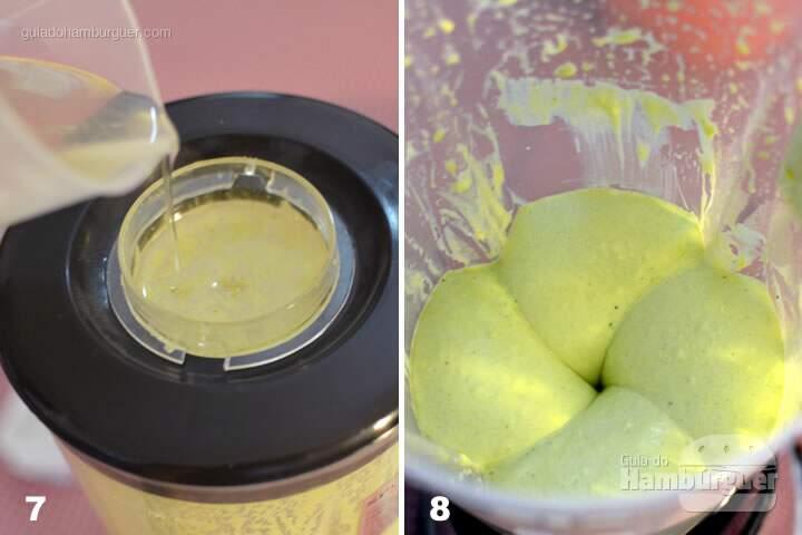 Coloque o óleo em fio até chegar a esta consistência - Receita maionese caseira