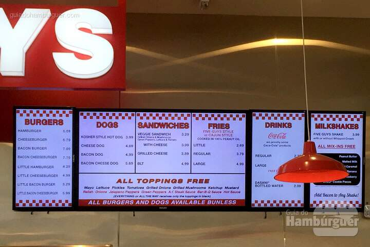 Cardápio - Five Guys Burgers & Fries