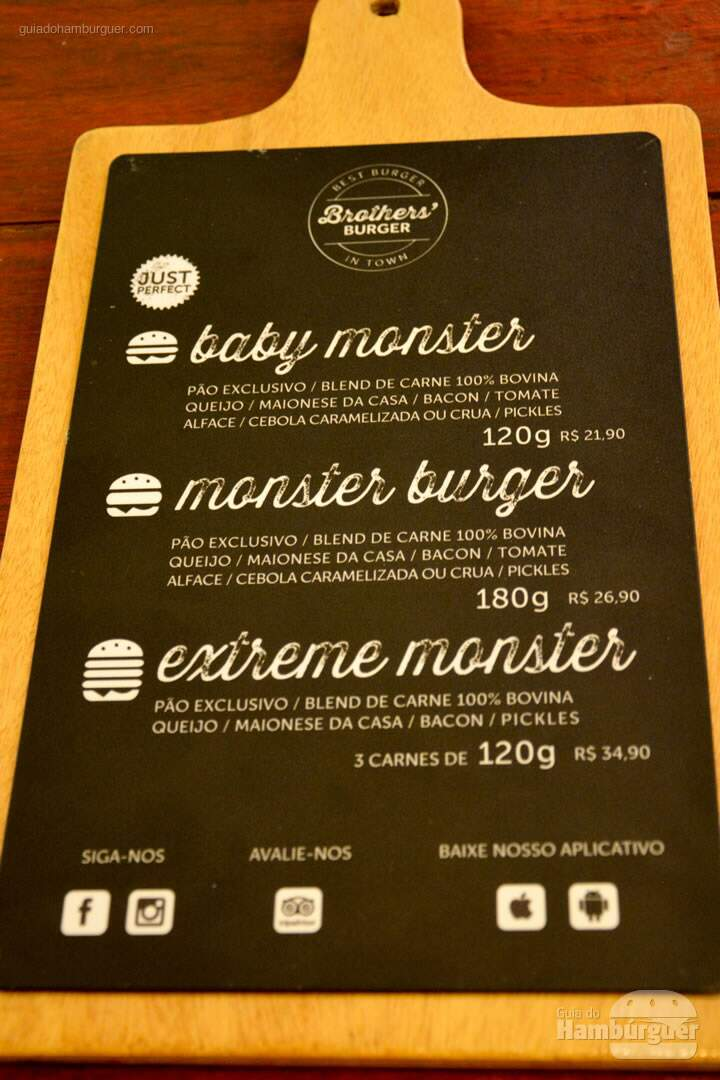 Cardápio de hambúrguer- Brother's Burger