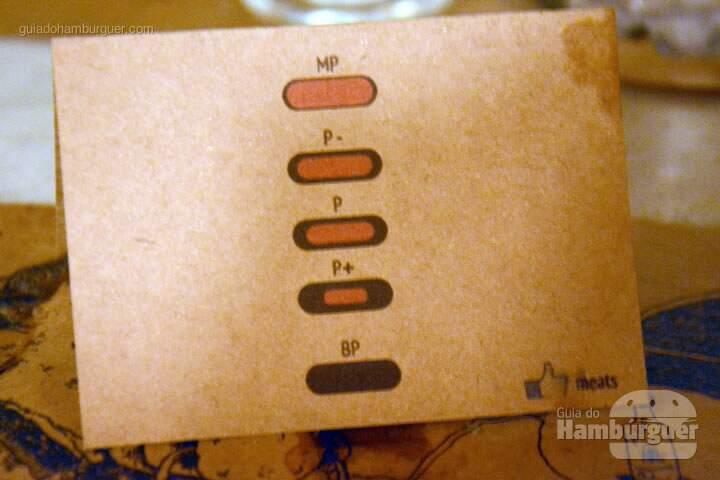 Display de mesa ilustrando o ponto dos burgers - Meats